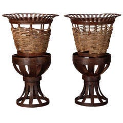 Pair Tall French Iron and Jute Jardinieres