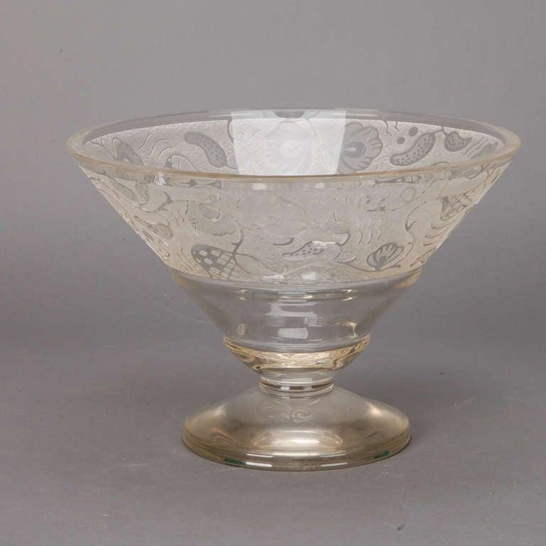 Large Art Deco Etched Glass Pedestal Bowl For Sale at 1stdibs