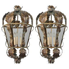 Pair 20th Century Italian Dark Brass Lanterns With Applied Leaves