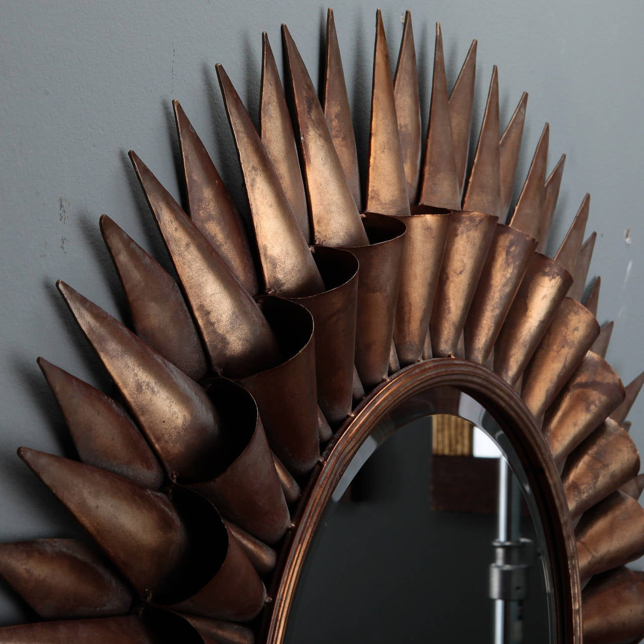 Mid-Century Modern Large Spanish Gilt Sunburst Mirror For Sale