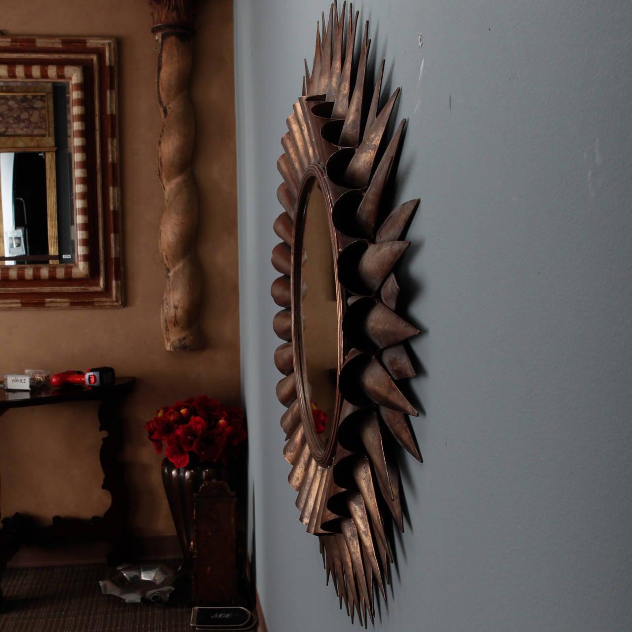 Late 20th Century Large Spanish Gilt Sunburst Mirror For Sale