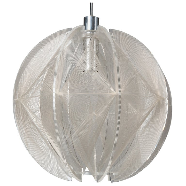 Vintage Round Fluorescent Light Fixture: Mid Century Round Form String And Lucite Hanging Light