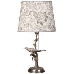 Silver Plate Table Lamp with Bird in Tree