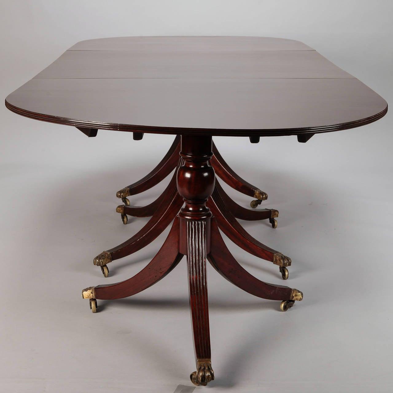 English Antique Mahogany Triple Pedestal Dining Table At