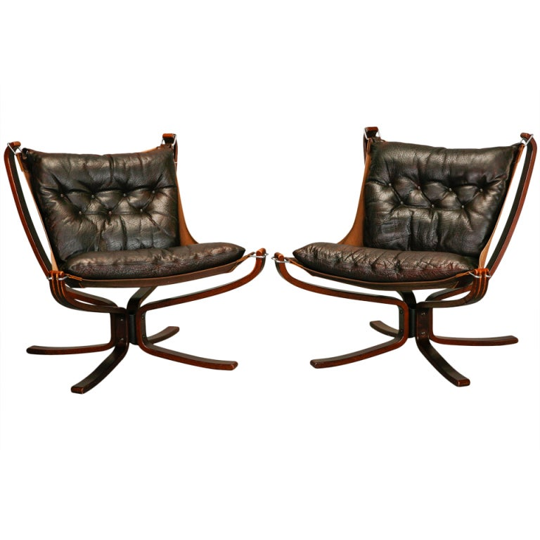 Pair Mid Century Sigurd Resell Falcon Chairs