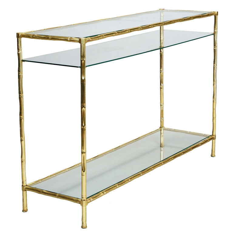 Italian Faux Bamboo Brass And Glass Console Table At 1stdibs