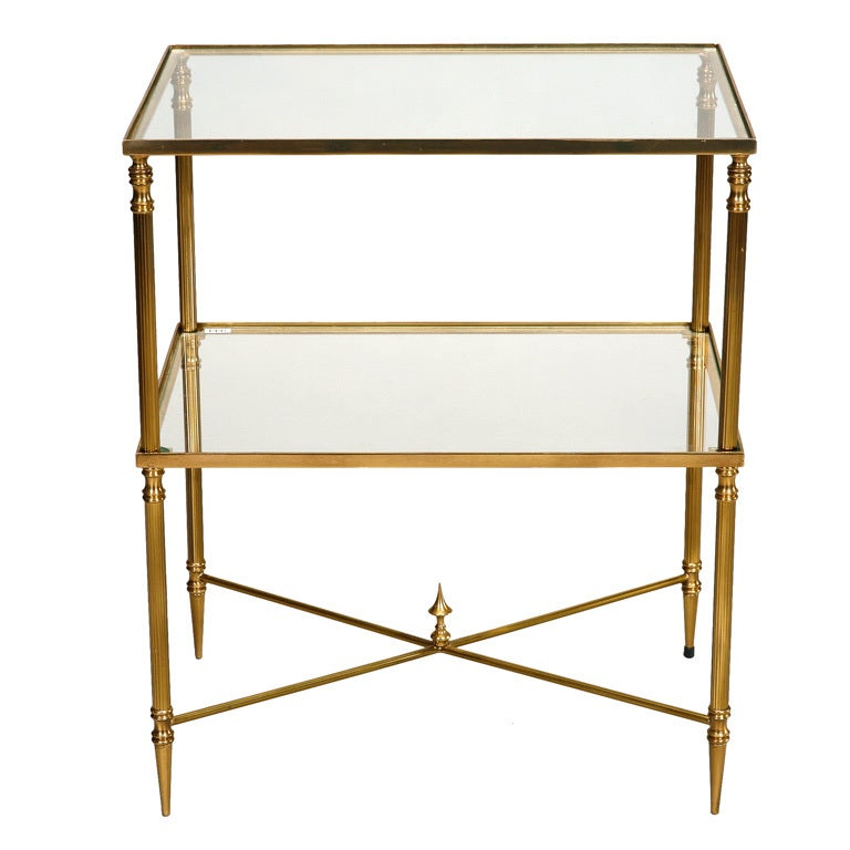Glass and Brass Neo Classical Side Table with X Base ...