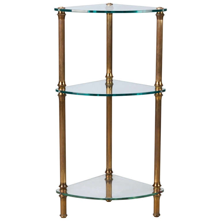 three tier brass and glass corner etagere at 1stdibs. Black Bedroom Furniture Sets. Home Design Ideas