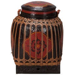Large Red and Black Lacquered Thai Basket
