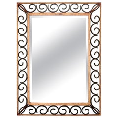 Art Deco Gilt Iron Framed Rectangular Mirror