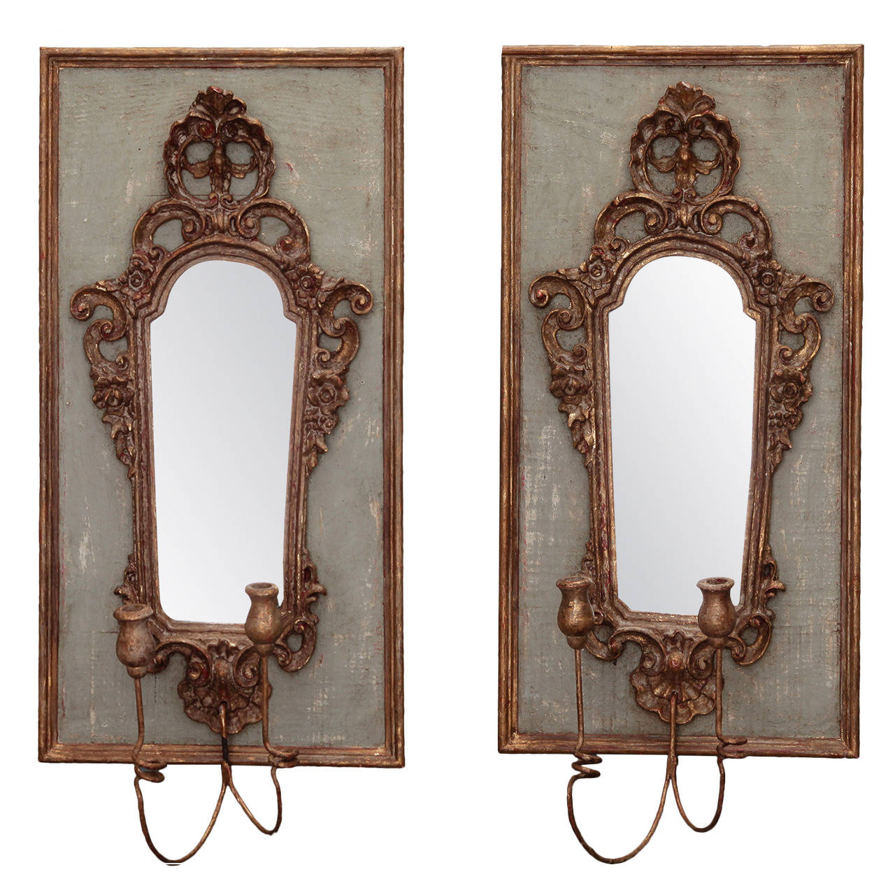 Pair 19th Century Italian Sconces With Carved Mirror On