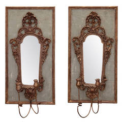 Pair 19th Century Italian Sconces With Carved Mirror on Panel