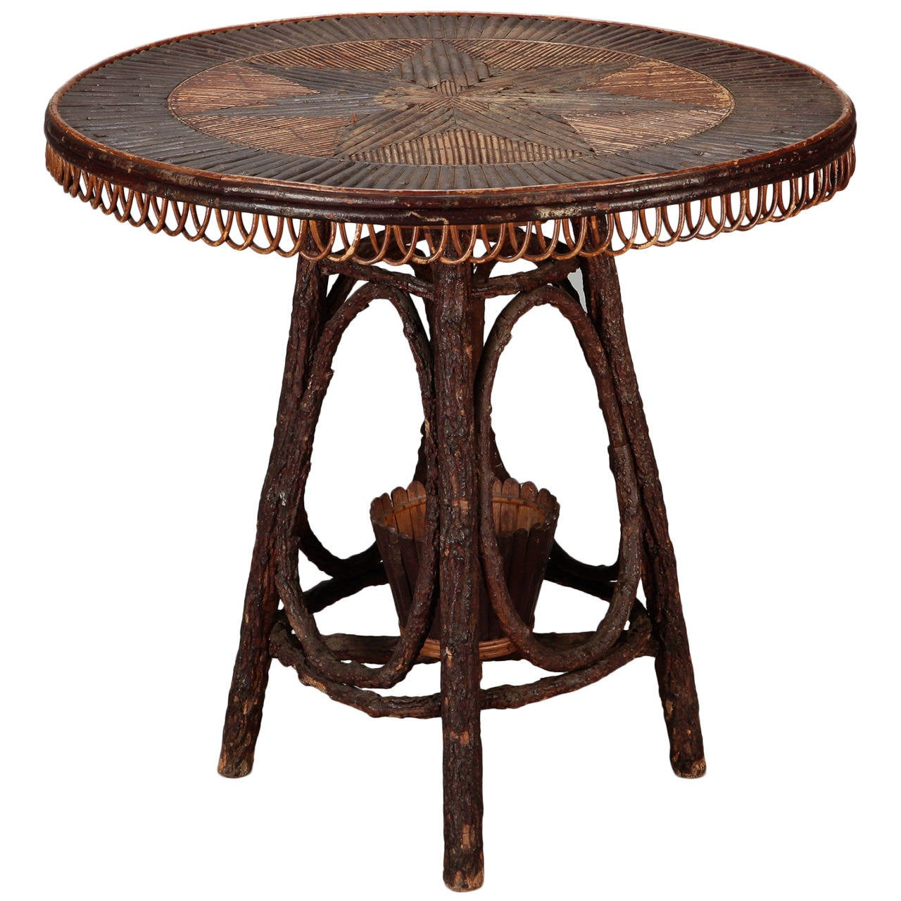 French Round Bent Willow Twig Table With Star Design Inlay For