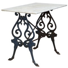 French Blue Iron Base Bistro Table With Marble Top