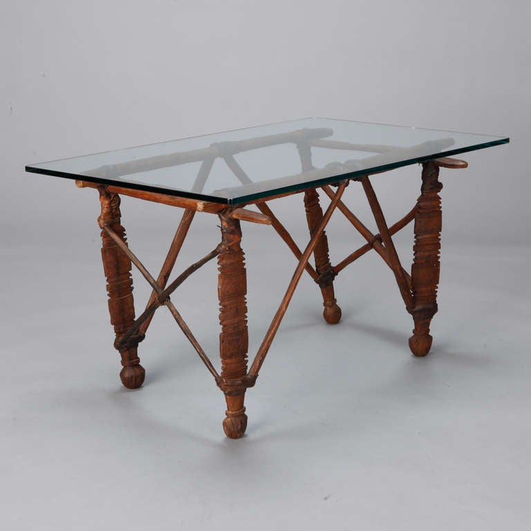 Cocktail Table With 19th C African Wood And Leather Base For Sale At