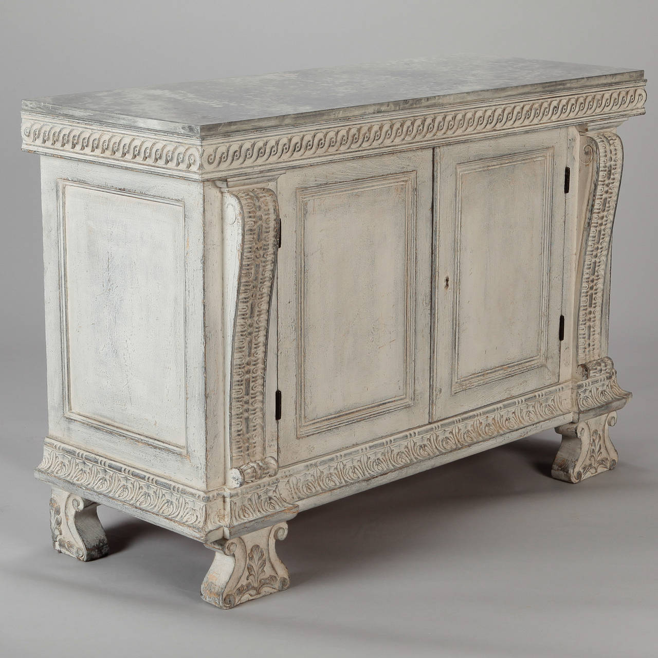 Wonderful Italian Two Door Chest With Faux Painted Top And Carved Details 3