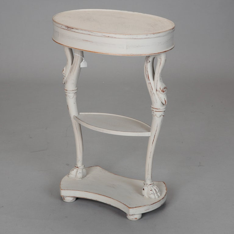 White Painted French Oval Top Small Side Table At 1stdibs