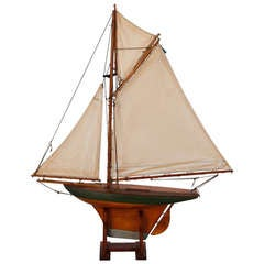 English Wooden Pond Boat with Three Sails