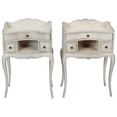 Pair of French Antique White Bedside Tables
