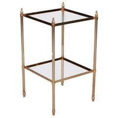 Brass and Glass Two-Tier Midcentury Side Table