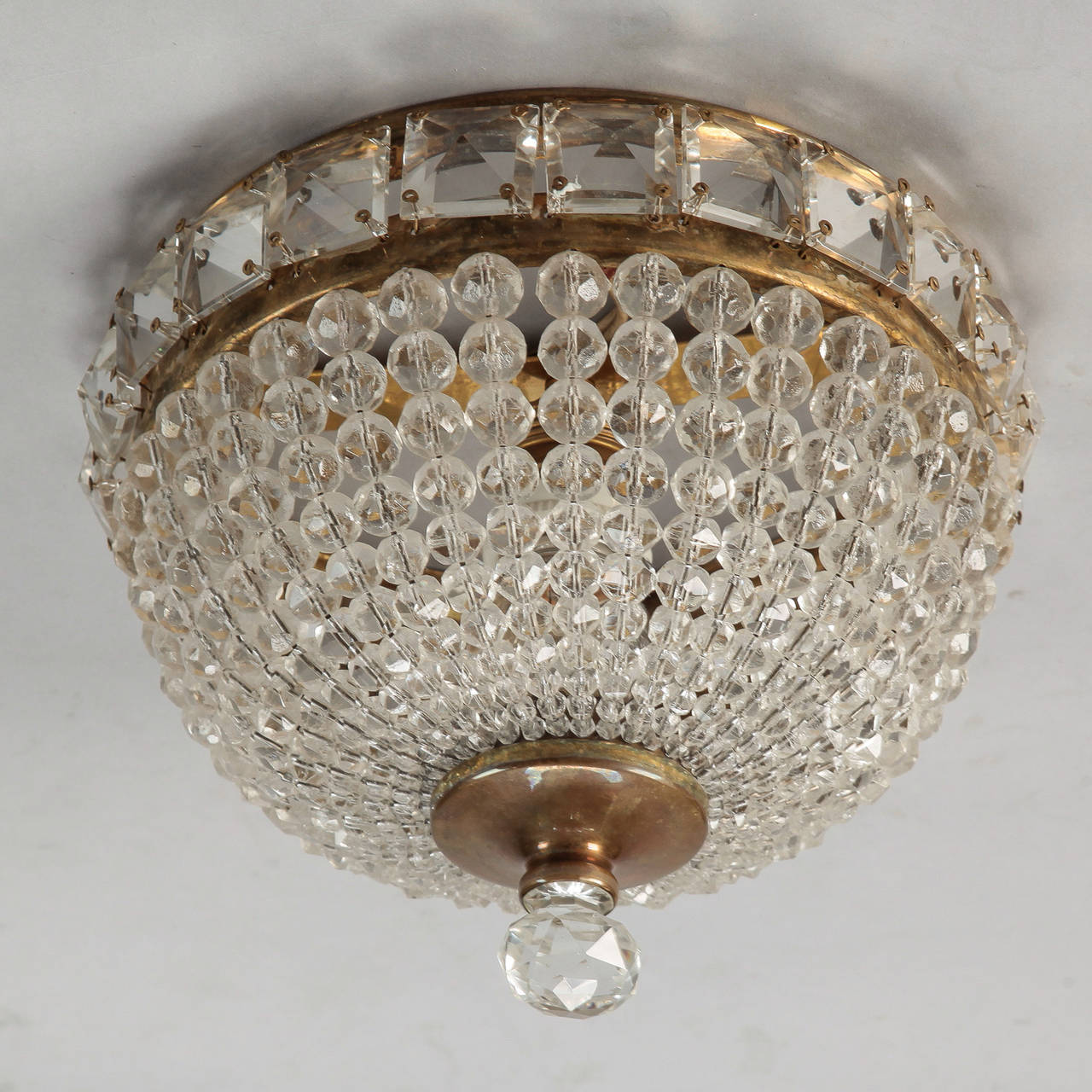 Beaded Crystal Flush Mount With Large Cut Mirrored Crystal Edge at