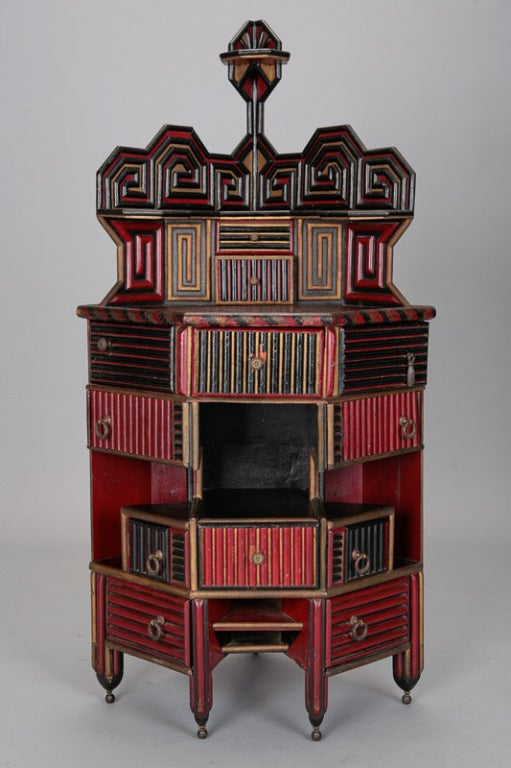 Unusual English Aesthetic Japanese Style Corner Cabinet image 8