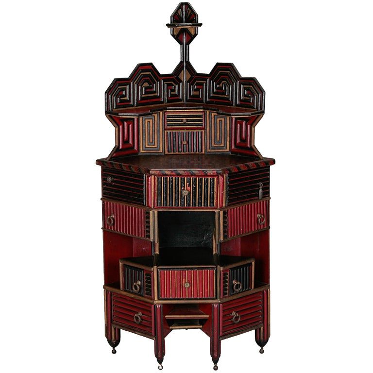 Unusual English Aesthetic Japanese Style Corner Cabinet