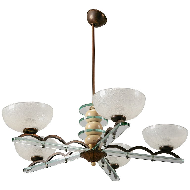 Circa 1940s Paolo Buffa Style Five Light Chandelier For
