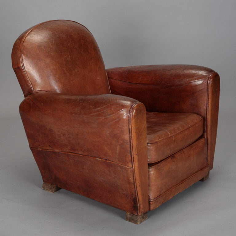 Pair French Art Deco Brown Leather Club Chairs At 1stdibs