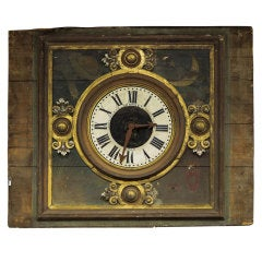French Clock Face On Large Decorative Wood Panel