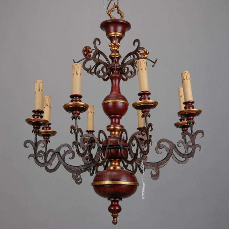 Eight Light Italian Wood and Scrolled Iron Chandelier 2