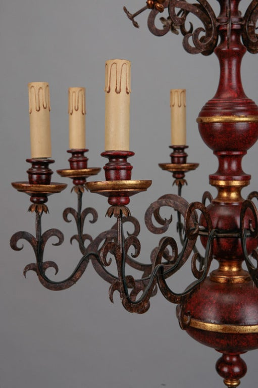 Eight Light Italian Wood and Scrolled Iron Chandelier 4