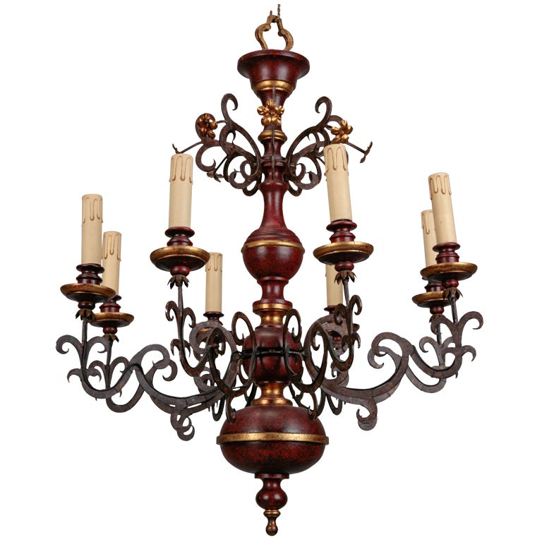 Eight Light Italian Wood and Scrolled Iron Chandelier 1