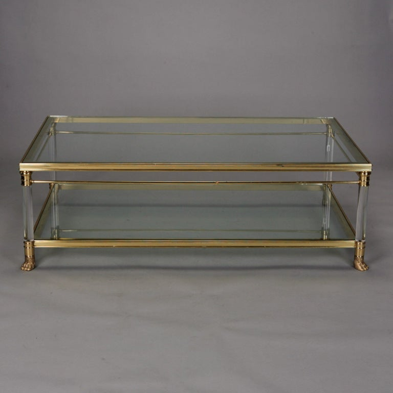 Mid Century Brass Glass And Lucite Coffee Table At 1stdibs