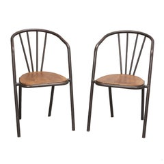 Set of Six Midcentury Metal and Wood Armchairs