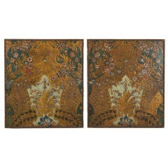 Pair of Tooled & Painted Leather Panels