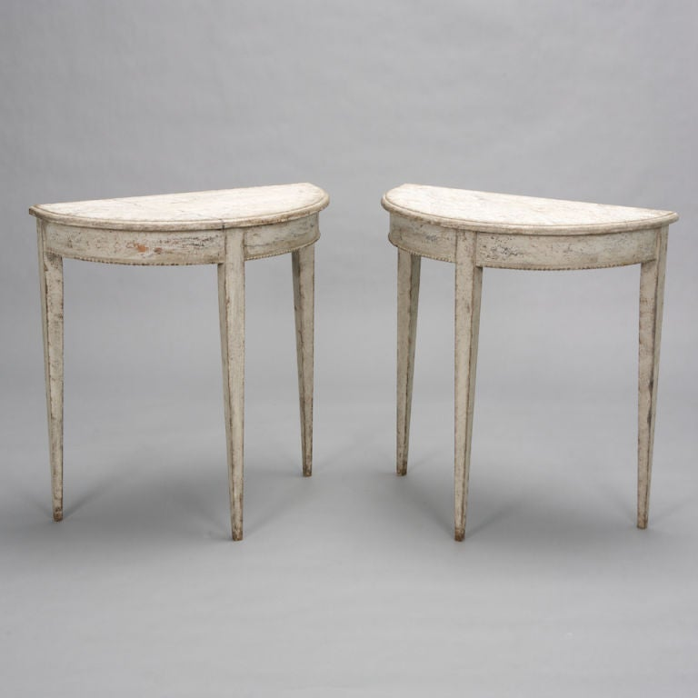 Pair of small swedish white demilune consoles at 1stdibs - White demilune console table ...