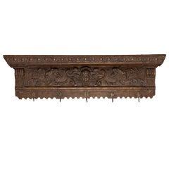 119th Century Dutch Carved Shelf with Cherub and Brass Coat Hooks