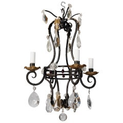 French Four Light Black Iron and Crystal Chandelier