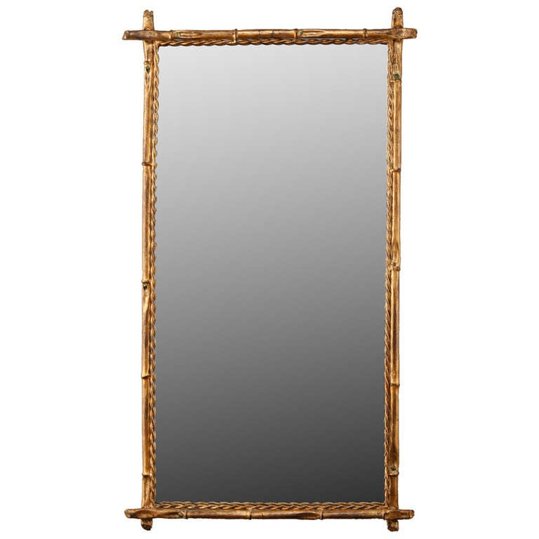 Italian Gilt Metal Faux Bamboo Mirror For Sale