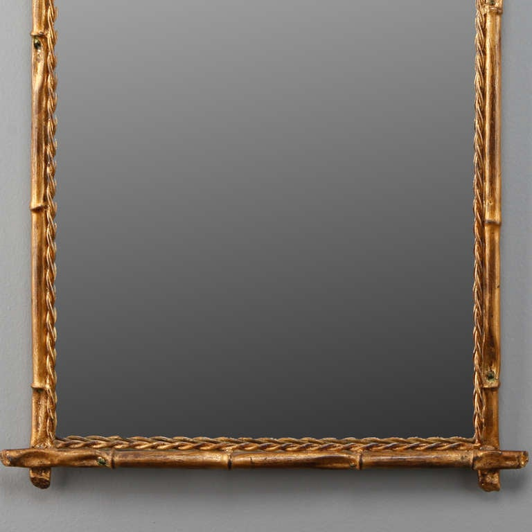 Italian Gilt Metal Faux Bamboo Mirror In Excellent Condition For Sale In Troy, MI