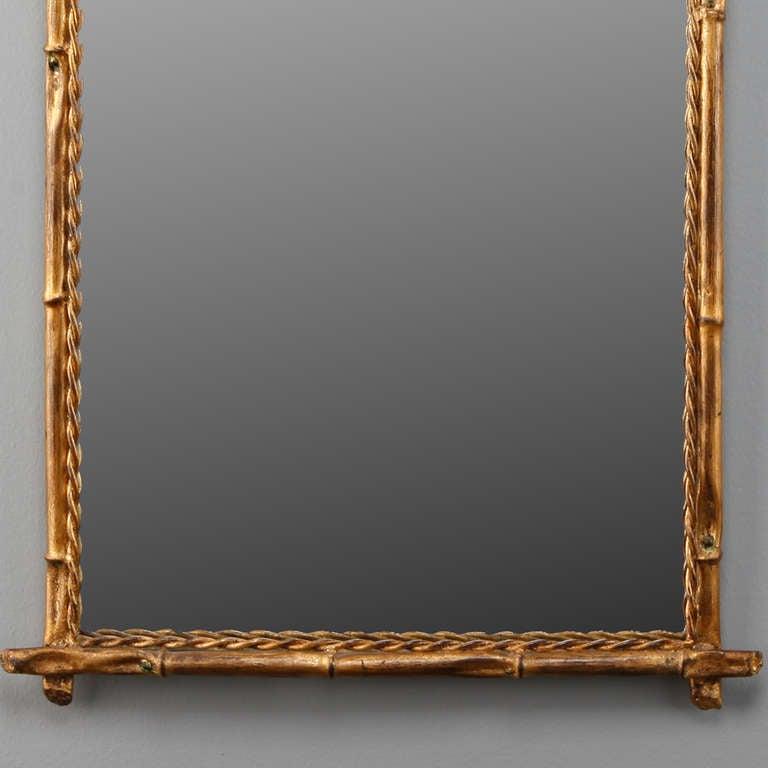 Italian Gilt Metal Faux Bamboo Mirror 3