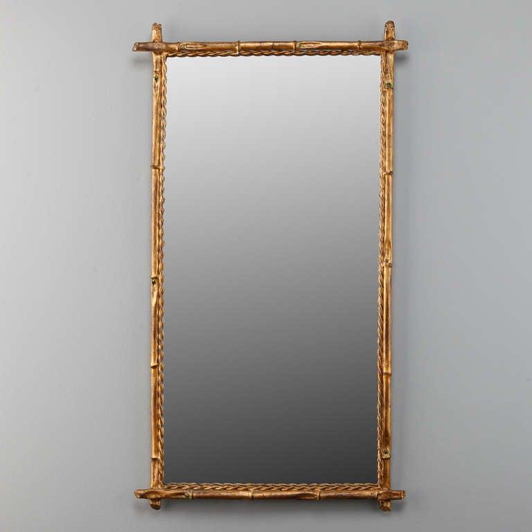 Italian Gilt Metal Faux Bamboo Mirror 2