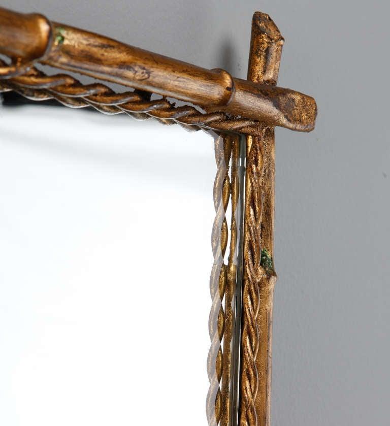Italian Gilt Metal Faux Bamboo Mirror 4