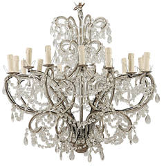Sixteen-Arm Silver Metal, Highly Beaded French Chandelier