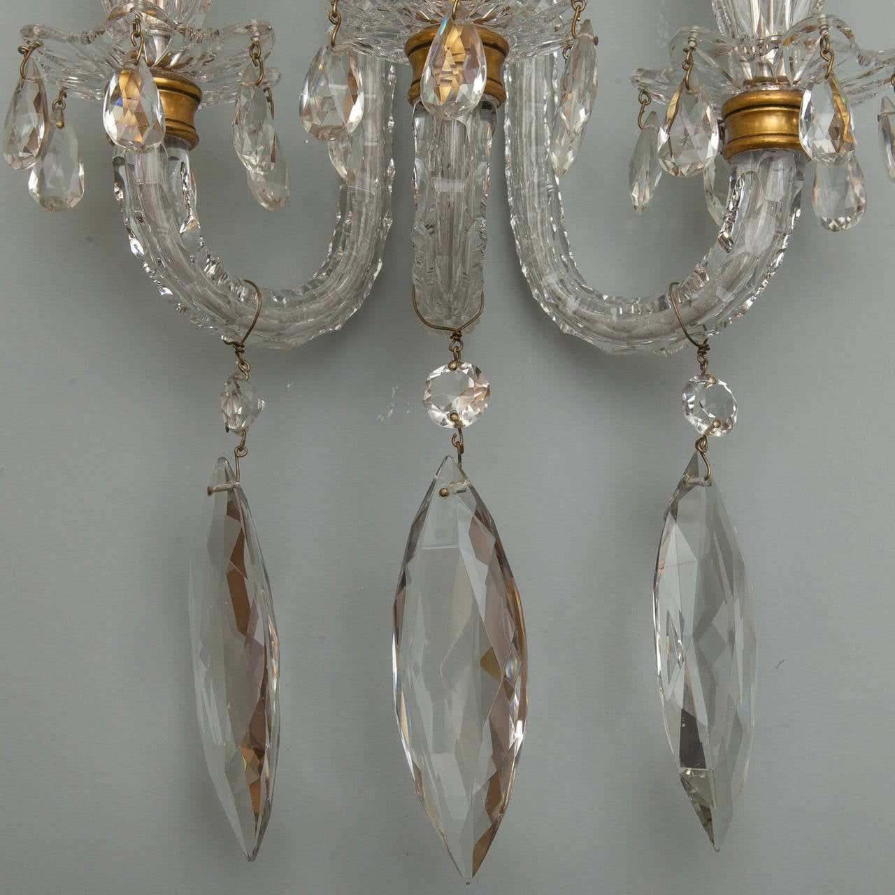 Magnificent Pair of Monumental Three-Light all Crystal Sconces at 1stdibs