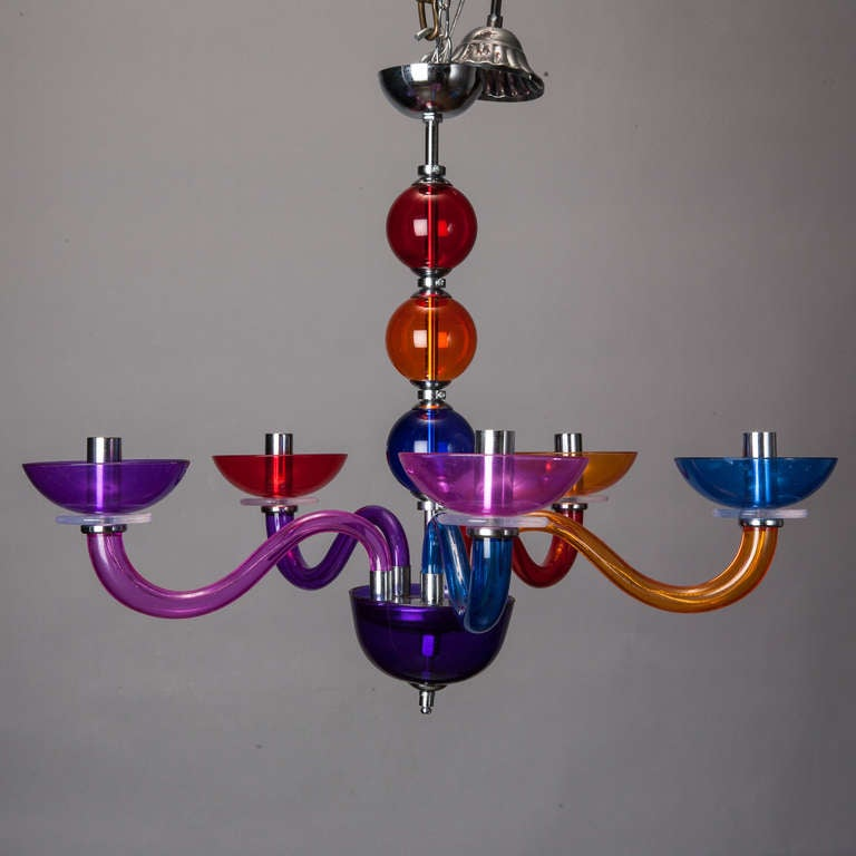 Red Acrylic Chandelier: Pop Art Acrylic Multi Color Chandelier In Style Of Gio