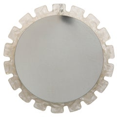 Mid Century Light Up Round Mirror with Clear Battlement Edge Frame