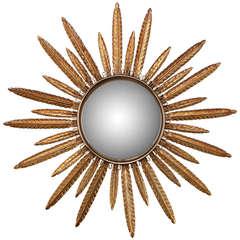 Midcentury Gilt Metal Convex Sunburst Mirror