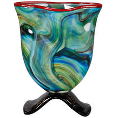 Blue Green Murano Art Deco Vase with Red Edge and Black Base
